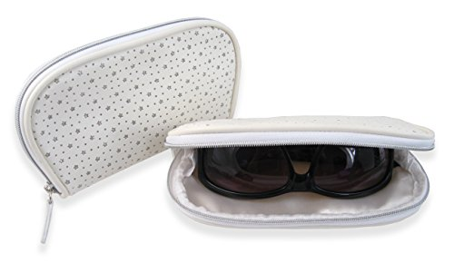 Eyeglass Zipper Pouch for Medium to Large frames | zippered pencil pouch | Pack of 2 pouches with microfiber cleaning cloths | (Stars White - Eyeglass Case Zippered