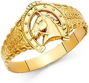 14k Yellow Gold Good Luck Horseshoe Ring