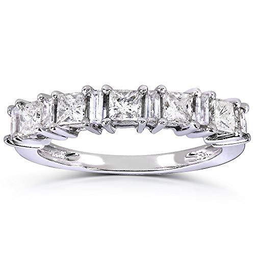 Princess-cut and Baguette Diamond Band 3/4 Carat (ctw) in 14k White Gold, Size - Ct Diamond 0.75 Baguette