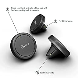 Car Mount, (2 Pack) Mengo Magna-Snap Mini Magnetic Air Vent Car Mount for Smartphones (iPhone, Samsung, HTC, LG, Nokia, & More), Mp3 Players, and GPS Devices - Retail Packaging