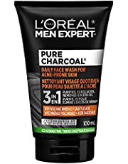 L'Oreal Men Expert Daily Face Wash for Acne Prone Skin with Volcantic Minerals and Salicylic Acid; Pure Charcoal