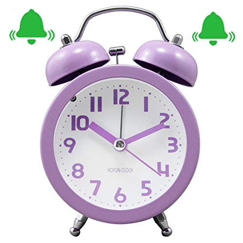 """Retro 3"""" Twin Bell Alarm Clock - Non Ticking Metal Frame 3D Dial with Backlight Function - Desk Table Clock for Home & Office (Purple)"""