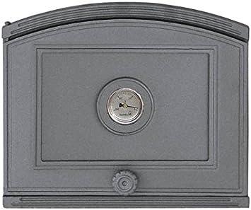 Puerta de horno para pizza o horno de madera de hierro fundido con termómetro, tamaño exterior: 372 x 315 mm, dirección de apertura: izquierda