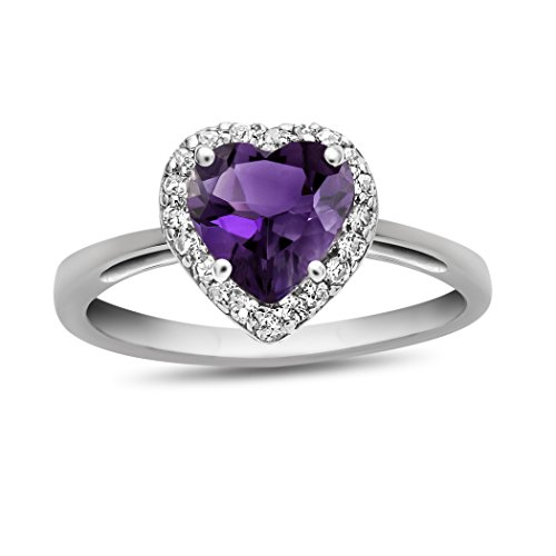 Finejewelers 10k White Gold 6mm Heart Shaped Amethyst with White Topaz accent stones Halo Ring Size 6