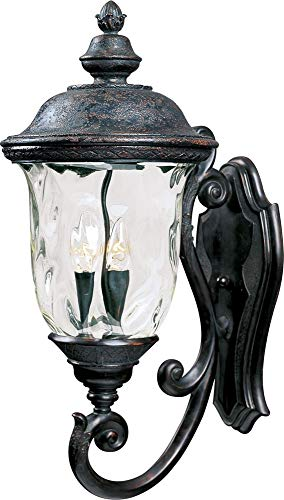 Maxim Lighting 40424WGOB Carriage House VX 3-Light Bottom Mount Outdoor 26.5-Inch Wall Lantern, Oriental Bronze Finish