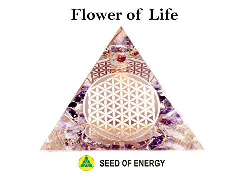 (Handmade ORGONITE Flower of Life Pyramid Orgone Energy Generator for Expansion and Growth, with Gemstone Diamond, Crystal Quartz, Amethyst, Ruby)