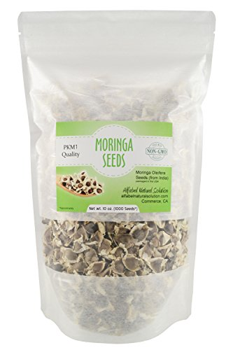 Moringa Oleifera Seeds Non-GMO PKM1 Premium Quality - Organically Grown - Edible - 10 oz. (1000 Seeds approximately) Resealable Stand Up Pouch