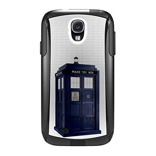 DistinctInk Case for Samsung Galaxy S4 - Custom Black OtterBox Commuter - Tardis Police Call Box (Samsung S4 Police Case)