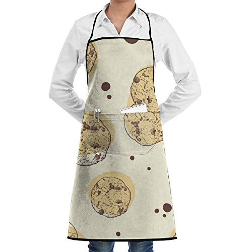 GHJQWES Chocolate Chip Cookie (1) Funny Chef Birthday Black Apron Gift Ideas for Women,Men,Mom,Dad,Wife,Unisex - Adjustable Kitchen Aprons Cook Bib for Cooking Baking Grilling BBQ from GHJQWES
