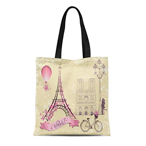 (Semtomn Cotton Canvas Tote Bag Eiffel Paris Symbols and Landmarks Romantic From Tour French Reusable Shoulder Grocery Shopping Bags Handbag Printed)