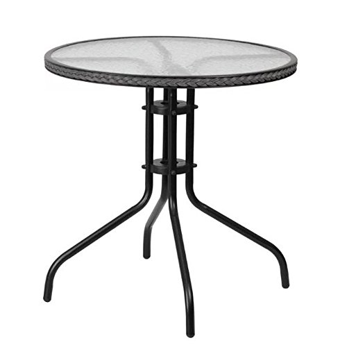 GT Round Glass Patio Side Table Gray Garden Side End Table Outside Portable Classic Round Top Furniture & eBook by Easy2Find. by GT