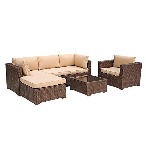 Patiorama 6 Piece Outdoor Conversation Set, All Weather Wicker Patio Sectional Sofa Set with Corner Sofa Chair Ottoman Table, Beige