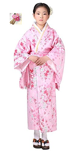 Halloween party women's kimono costume 【150㎝Lily of flowers pink】 Ideal for (Yukata Halloween Costume)