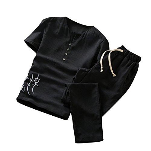 Noir À T Courtes Jogging Été Set shirts Slim Deux Manches Pantalons Chinois Style pièces Hommes Sport Sweat azXSw