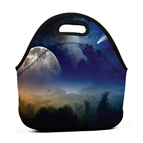 for Womens Mens Boys Girls Outer Space,Vibrant Clouds Full Moon Rise and Comet in Dark Sky Celestial Horizon Twilight,Blue Yellow,sling lunch bag for men