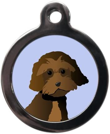 PS Pet Tags – Dog Breed Pet ID Tags – Chocolate Cockapoo Design – Zinc Alloy Metal – Large (32mm) Small (24mm) Personalised On Reverse – Dog Name Address Identity Tag – Made in UK