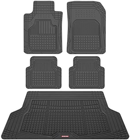 Motor Trend FlexTough Rubber Car Floor Mats with Cargo Trunk Liner, Trim to Fit Performance Plus Heavy Duty Liners for Auto SUV Truck Car Van, Thick, Odorless & All Weather
