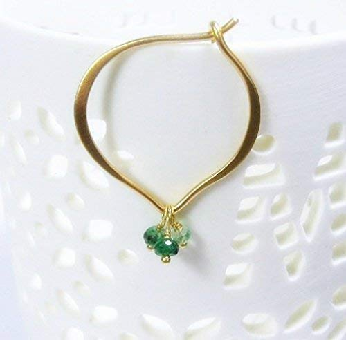 - Emerald Earrings, Gold Vermeil Lotus Petal Hoop Ear Wires, Faceted gemstone