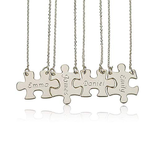 Dreamdecor 4 Pieces Personalized Sterling Silver Puzzle Necklace Custom Any Four Names with Four Chains