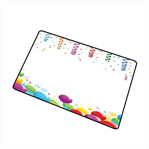 RelaxBear Kids Party Commercial Grade Entrance mat Confetti Rain with Curls and Balloons Stars Dots Joyful Happy Greeting Concept for entrances garages patios W23.6 x L35.4 Inch Multicolor