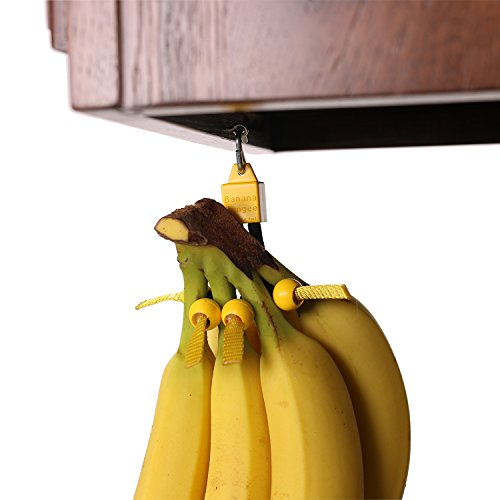 Unique Banana Holder by Banana Bungee|Easy to Use Banana Hanger, Leading Banana Hook Alternative, Most Effective Fruit Storage Since the Banana Tree, 4 Cord Lock Design, Hang Anywhere