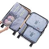 Stephenie Set of 7 Travel Storage Bag Luggage Organizer for Clothes Underwear Shoes Waterproof