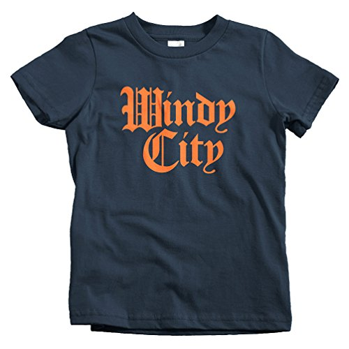 Smash Vintage Kids Windy City Gothic Chicago T-shirt - Navy, Youth X-Large (Arlington Heights City)