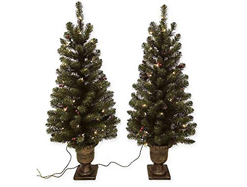 HomeAccents Set of Two Lighted 4' Entryway Christmas Trees w/Pinecones and Urn Pots (Tree Topiary With Lights)