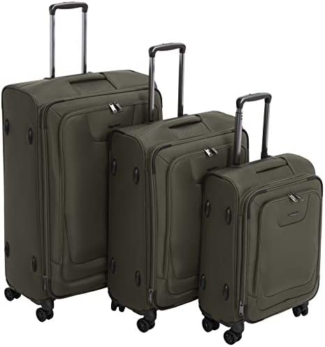 AmazonBasics Premium Expandable Softside Spinner Suitcase Luggage