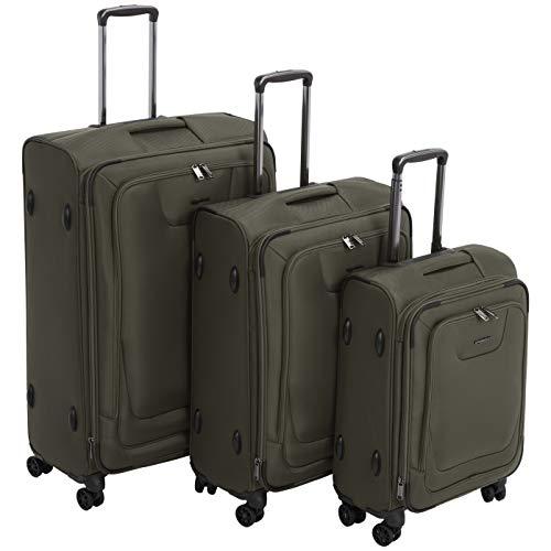 - AmazonBasics 3 Piece Expandable Softside Spinner Luggage Suitcase With TSA Lock And Wheels Set - Olive