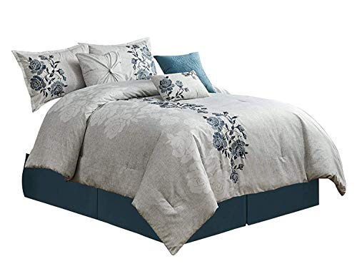 Flora Floral Comforter - Chezmoi Collection Flora 7-Piece Bold Blue Floral Embroidered Pattern Bedding Comforter Set (Full)