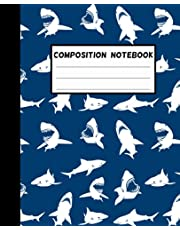 Shark Composition Notebook: Wide-Ruled, 7.5 x 9.25, 100 Pages, For kids, teens, and adults (Composition Notebooks)