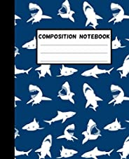 Shark Composition Notebook: Wide-Ruled, 7.5 x 9.25, 100 Pages, For kids, teens, and adults (Composition Notebo