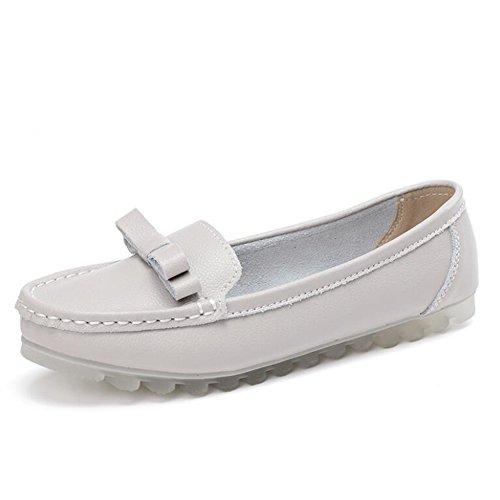 Zapatos Ocasionales de Las Mujeres 2018 Verano señoras Zapatos de Guisantes de Cuero Zapatos Ocasionales del Arco Zapatos cómodos Perezosos Forro (Color : Gris, tamaño : 37)