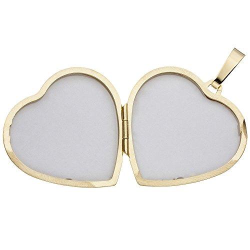 Médaillon pour 2 photos avec pendentif amulette en forme de cœur pour l'ouverture des ailes en or jaune 333