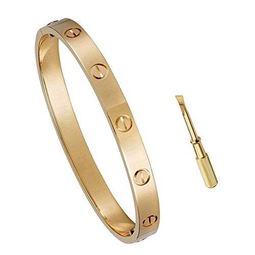 Designer Inspired Birthday Gift for Her Love Bracelet- Titanium Steel Screw Hinged Cuff Bangle Bracelet Rose Gold 6.5IN