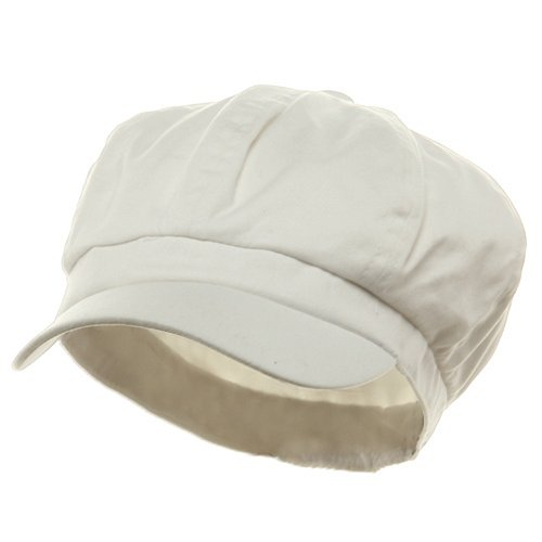 e4Hats.com Cotton Elastic Newsboy Cap-White XL-2XL -