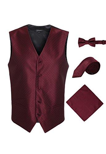 Ferrecci Men's 4 Piece Formal Diamond Pattern Vest Solid Burgundy X-Large