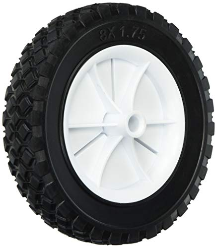 Shepherd Hardware 9613 8-Inch Semi-Pneumatic Rubber Replacement Tire, Plastic Wheel, 1-3/4-Inch Diamond Tread, 1/2-Inch Bore Offset Axle ()