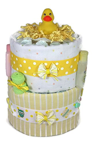 Sunshine Gift Baskets - Little Ducky Yellow Diaper Cake Gift Set with Stripes