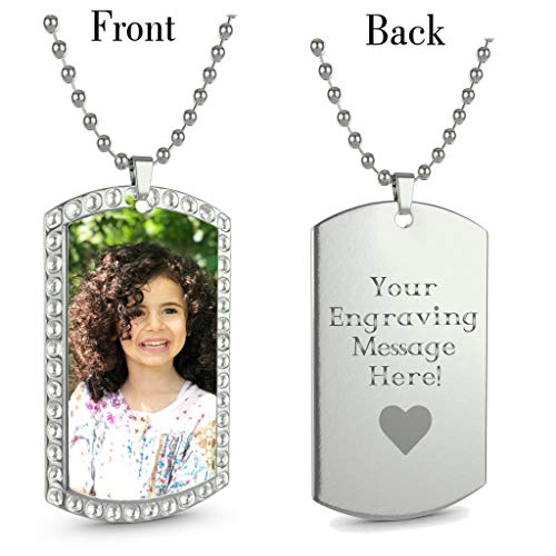 Interway Trading Personalized Custom Photo High Polished Color Engraved Dog Tag Necklace Pendant and 24 inch Stainless Steel Chain, Velvet Giftpouch and Keyring (Rectangular Stone Silver-Color Style)