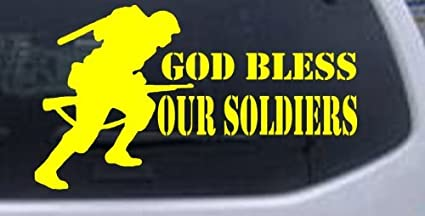 HIGH QUALITY God Bless our Soldiers Vinyl Decal Sticker Color