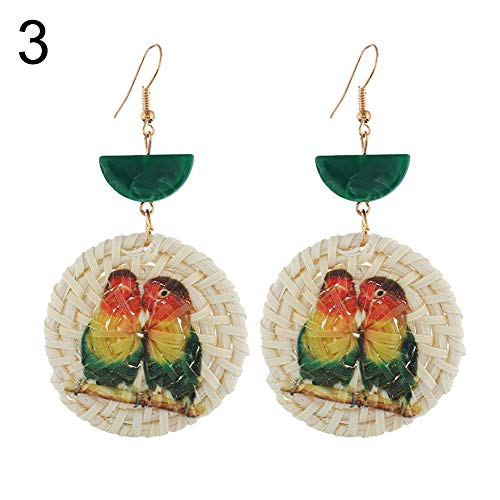 Buyanputra Adorable Dolphin Seahorse Parrot Animal Pattern Round Rattan Charm Lady Statement Hook Earrings Creative Gift 3# (Dolphins Round Earrings)