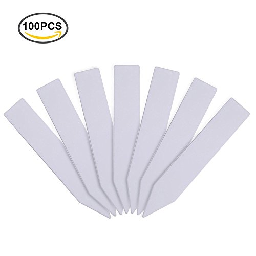 KINGLAKE 100 Pcs 4 Inch Thick Plastic Plant Labels Plant Tags Nursery Garden Seed Tags Re-Usable Plant Tags