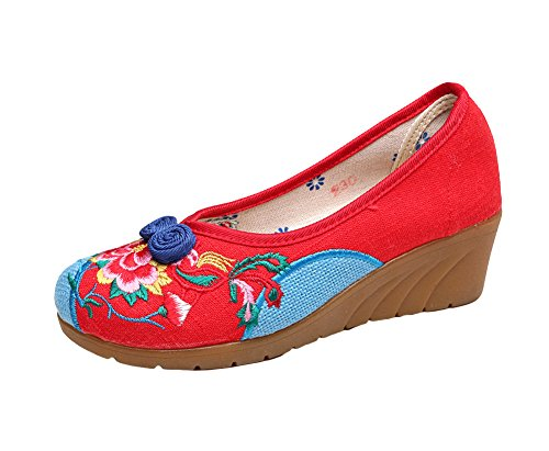 AvaCostume Womens Embroidery Canvas Wedge Heel Dancing Loafer Shoes Red Vd0my