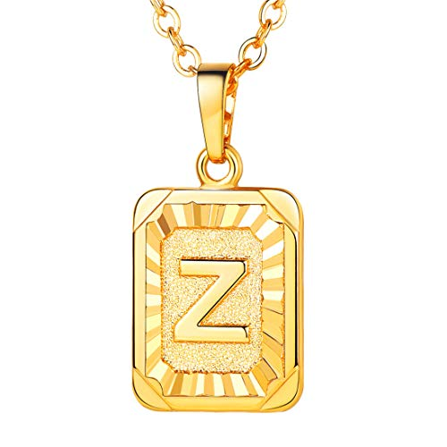 - U7 A-Z 26 Letters Pendant Men Womens Fashion Jewelry 18K Gold Plated Square Pendants Capital Initial Necklace (Z)
