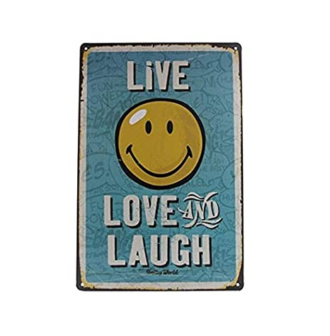 Amazon.com: Live, Laugh, Love Retro - Placa decorativa para ...