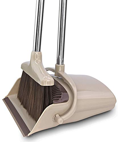 Broom and Dustpan Set [2019 Version] - Stand Up Brush and Dust Pan Combo for Upright Cleaning - Remove Hair with Built-in Wisp Scraper - Kitchen, Outdoor, Hardwood Floor & Garage Tiles Clean Supplies ()
