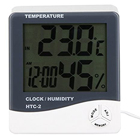 HTC-2 Digital Indoor/Outdoor Thermo-hygrometer Temperature Humidity Meter Tester with Time