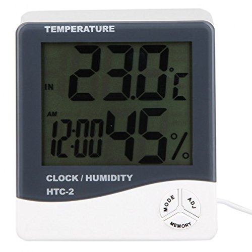 HTC-2 Digital Indoor/Outdoor Thermo-hygrometer Temperature Humidity Meter Tester with Time/Clock Generic
